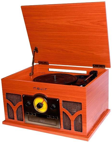 Nevir - Tocadiscos con Radio CD conversor Bluetooth nvr-807vrbuc de Madera