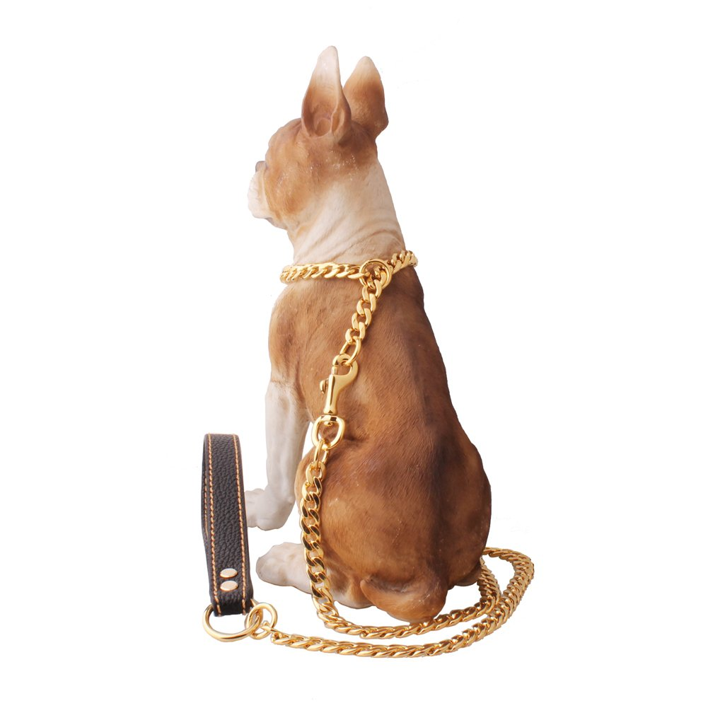 W&W Lifetime Heavy Durable Stainless Steel Figaro Chain Dog Walking Training Collar and Slip Leash Lead Collar Set for Pitbull German Shepherd and Medium Large Dog