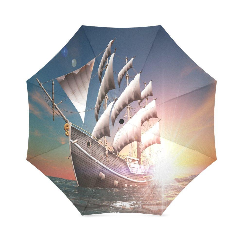 hot sale 2017 Custom Sailing Ship Compact Travel Windproof Rainproof Foldable Umbrella