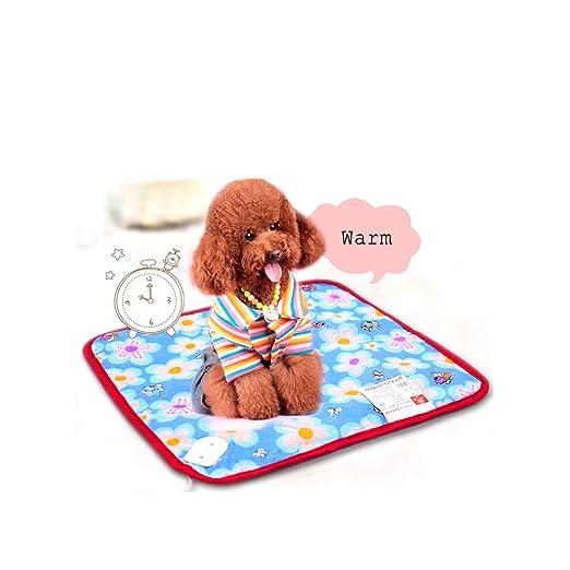 YXMxxm Almohadilla térmica Mediana para Mascotas, 40CM * 40CM Almohadilla térmica eléctrica Interior para Perro Mascota, Impermeable, ...
