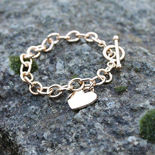 Bracelet chaîne bijou avec un coeur 21 cm Plaqué or