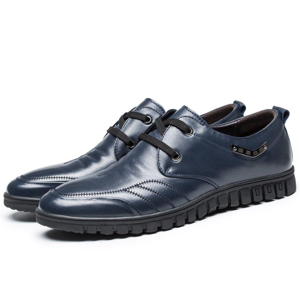 [Asagao]カジュアルシューズ メンズ  男 紳士 ビジネスシューズ 革靴 スキッドシューズ ローカット靴 レースアップ フラット 通勤通学 旅行出張 軽量 履き心地よい 小さい/大きいサイズ ブラウン ブルー ブラック B01IF7E37A 24.0 cm|ブルー