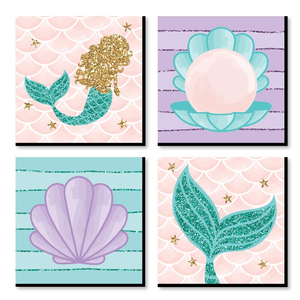 Big Dot of Happiness Let's Be Mermaids - Kids Room, Nursery Decor and Home Decor - 11 x 11 inches Nursery Wall Art - Set of 4 Prints for Baby's Room by Big Dot of Happiness
