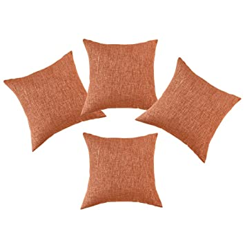 SINOGEM Orange Throw Pillows Faux Linen Orange Decorative Pillow for Chair  Pillow Cover Set of 4 with Invisible Zipper 18 x 18 Inch (Orange)