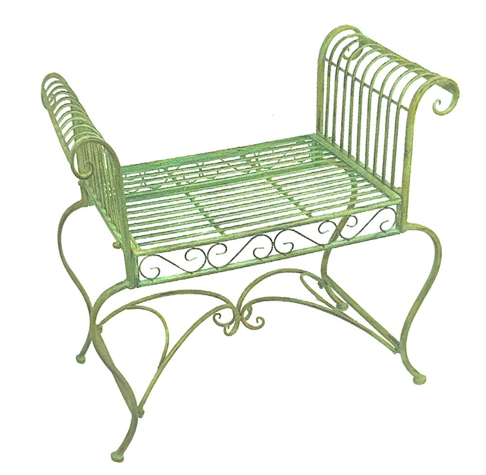 Amazon Com Garden Bench Plant Stand Wrought Iron Antique Mint