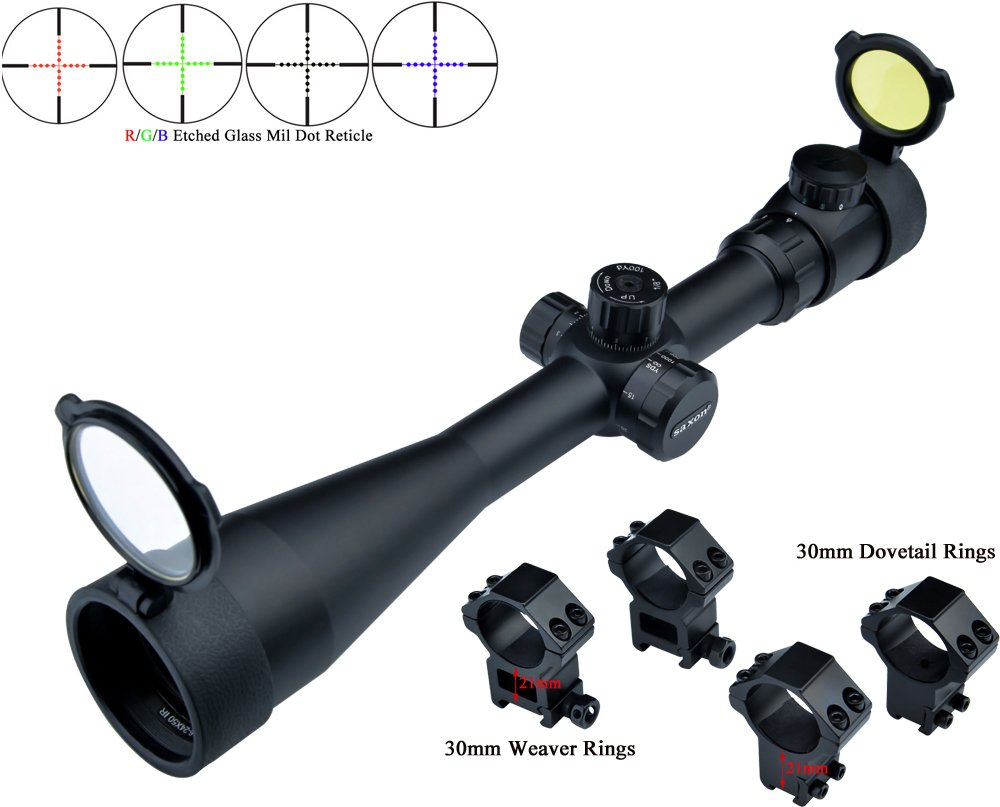 Eagle Eye Saxon Lunette De Visée Rifle Scope 6-24x50 SF (30mm) Rouge Vert Bleu  Tourelles Verre dépoli Mil Dot Riflescope avec 2 Types de Monts  Amazon.fr   ... a40bce06c36b