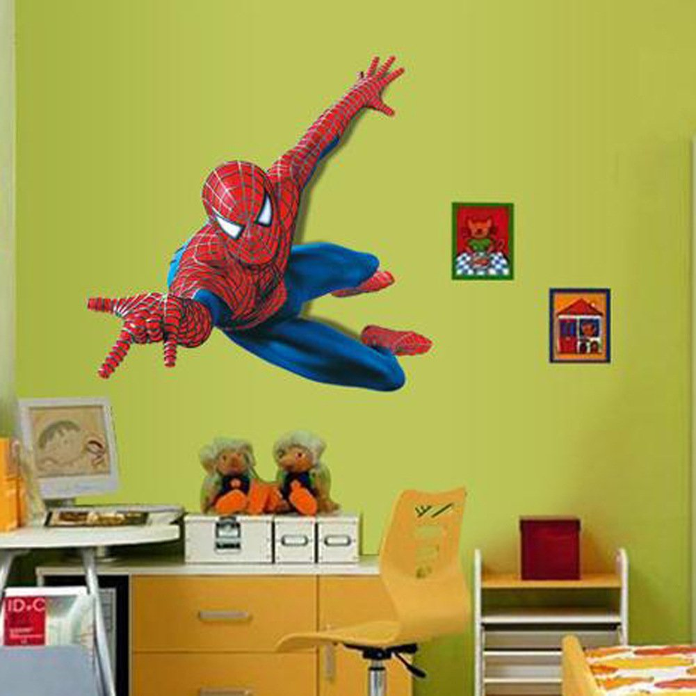 Amazon.com: Winhappyhome Cartoon Spider-Man Kids Wall Stickers for ...