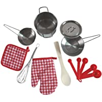 Uptown Toys Stainless Steel Pretend Play 9 Piece Beginner Cooking Set