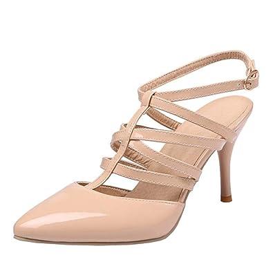 1d1e23129722f YE Chaussure Slingback Escarpin Vernis Femme Talon Haut Aiguille Bout Pointu  Boucle avec Bride Cheville(