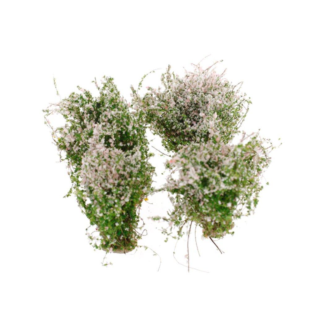 4 Piezas Modelo De Flores Cubiertas De Tierra Muñeca Modelo De Paisaje De Flores (Rosa Blanco y verde) Generic