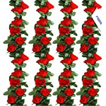 MEHELANY Artificial Rose Vine Flowers with Green Leaves 7.5ft Fake Silk Rose Hanging Vine Flowers Garland Ivy Plants for Home Wedding Party Garden Wall Decoration (White) …
