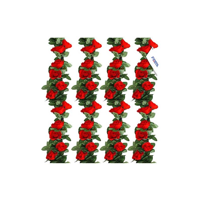 silk flower arrangements fami 4pcs(28.8 ft,16 flowers) fake rose vine flowers plants artificial flower hanging rose ivy home hotel office wedding party garden craft art décor-red