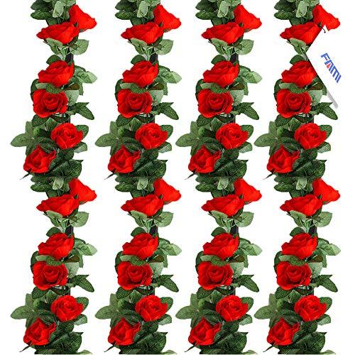 FAMI 4PCS(28.8 FT) Artificial Rose Vines Fake Silk Flowers Rose Garlands Hanging Rose Ivy Plants for Wedding Home Office Arch Arrangement Decoration (16 Red Flowers)