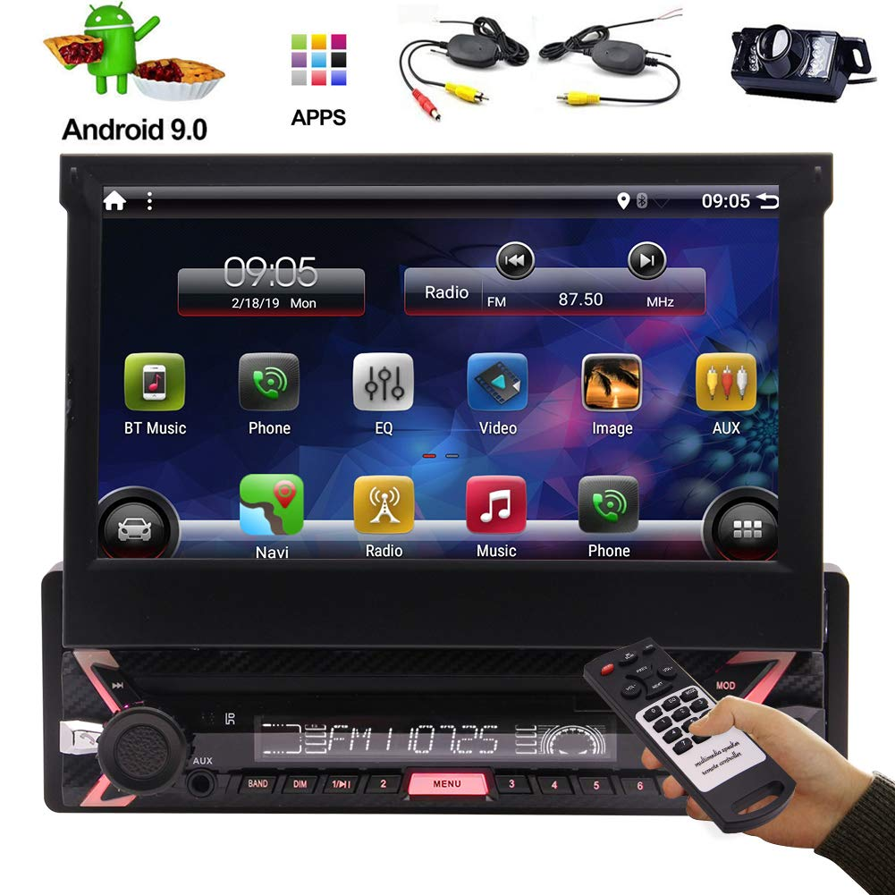 Newest Android 9.0 Single 1 Din Car Radio with GPS Navigation 7 inch Flip Capacitive Touchscreen Automotive Car Stereo System One Din Video WiFi Mirrorlink USB SD Entertainment by EinCar