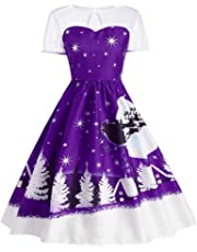 Tian-G Women's Vintage Christmas O-Neck Printed Short Sleeve A-Line Swing Dress Christmas Short Sleeves and Knee-Length Skirts