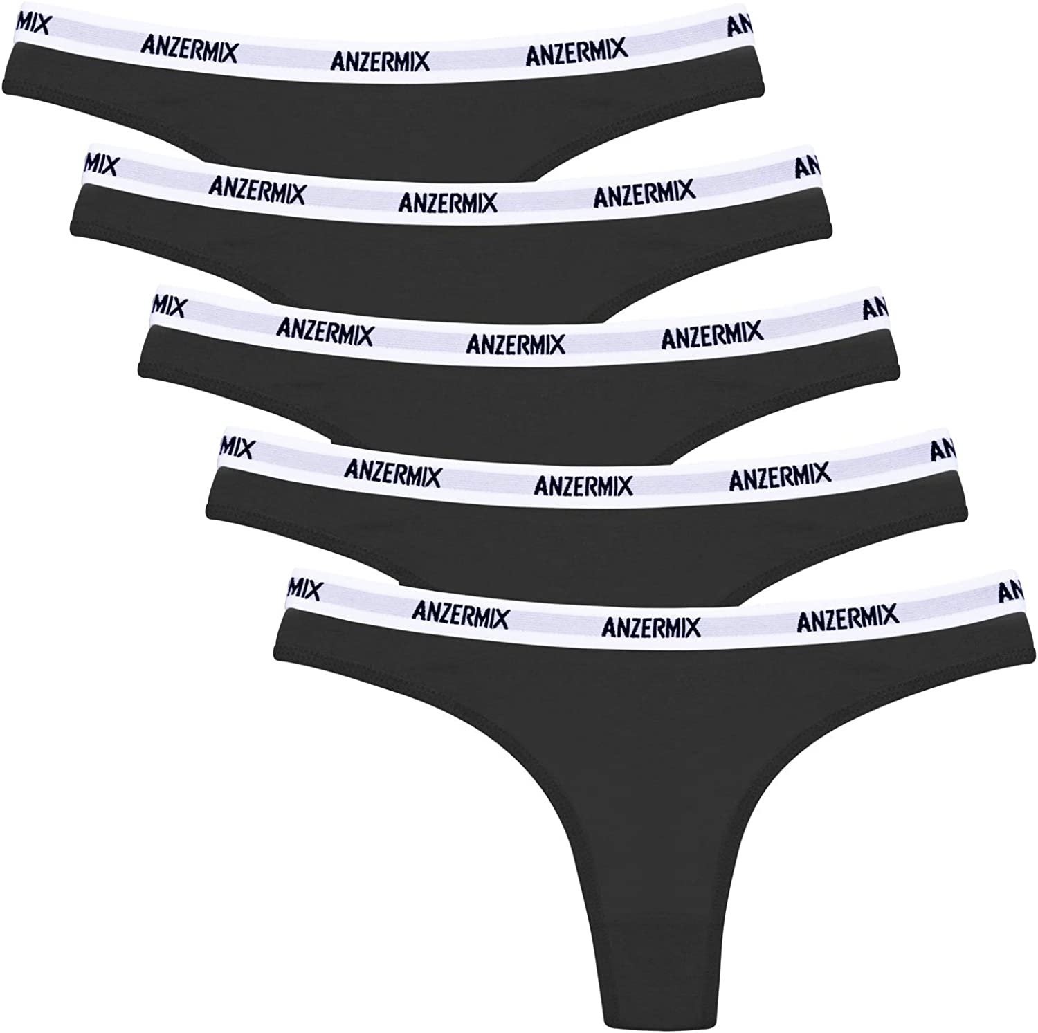 Anzermix Womens Breathable Cotton Thongs Panties Pack of 6