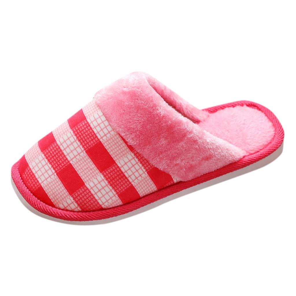 Meigeanfang Women Cotton Slippers Flat Short Plush Soft Bottom Non-Slip Plus Velvet Autumn Winter House Shoes (Red,7.5US) by Meigeanfang
