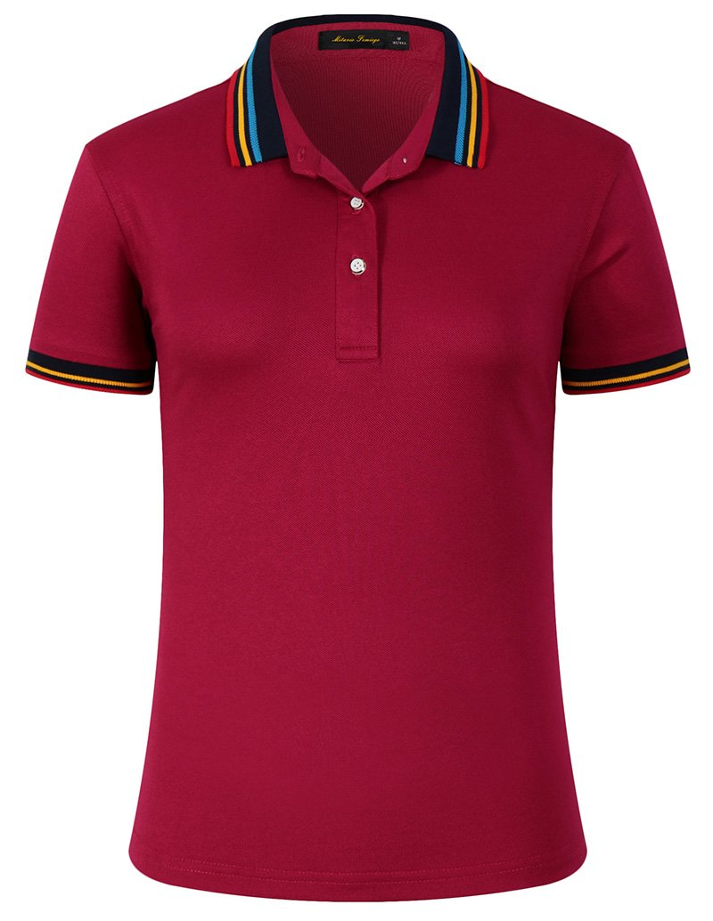 Mitario Femiego Women Classic Rainbow Collar Slim Fit Short Golf Polo Shirt Wine Red L by Mitario Femiego