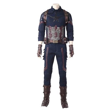 QWEASZER Marvel Avengers Capitán América Disfraz Hombres ...