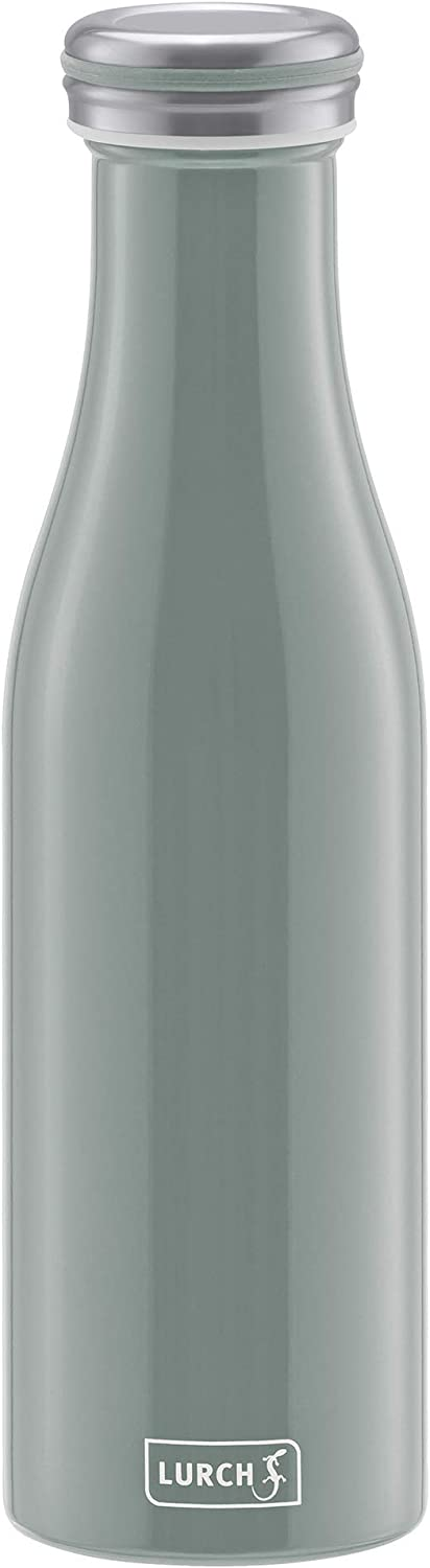 Lurch Germany Thermal Bottle for Hot and Cold Drinks Made of Double-Walled Stainless Steel (Pearl Gray, 16 oz. | 0.5l)