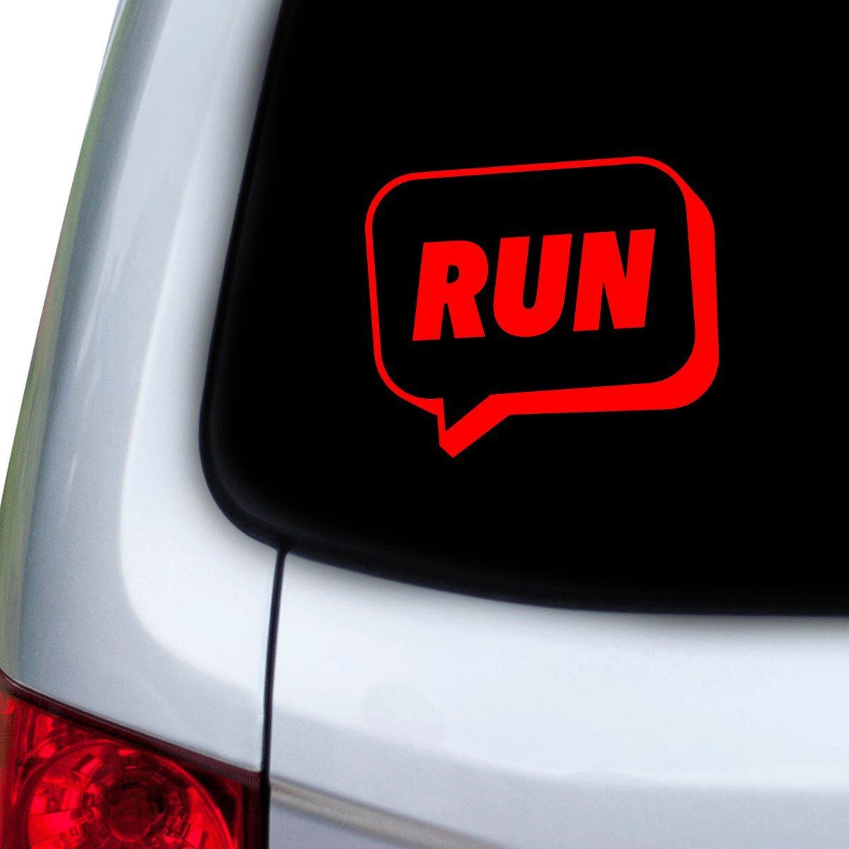 Hoods Doors StickAny Car and Auto Decal Series Run Speech Bubble Sticker for Windows Red