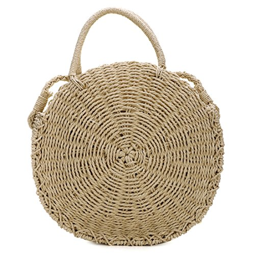 Straw Leather Khaki Handwoven Chic Round Natural Beach Straps Hand Shoulder Bag Round Rattan Bag AAx6wOvIq