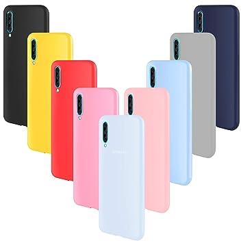 ivencase 9 × Funda Samsung Galaxy A70, Carcasa Fina TPU Flexible Cover para Samsung Galaxy A70 (Rosa Gris Rosa Claro Amarillo Rojo Azul Oscuro ...