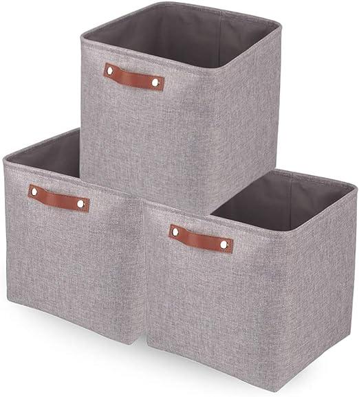 Mangata Cajas de Almacenaje Decorativas, Cesta de Almacenamiento de Tela Plegable, Cubos de Almacenamiento - 33 x 33 x 33 cm (Gris, 3 Pcs): Amazon.es: Hogar