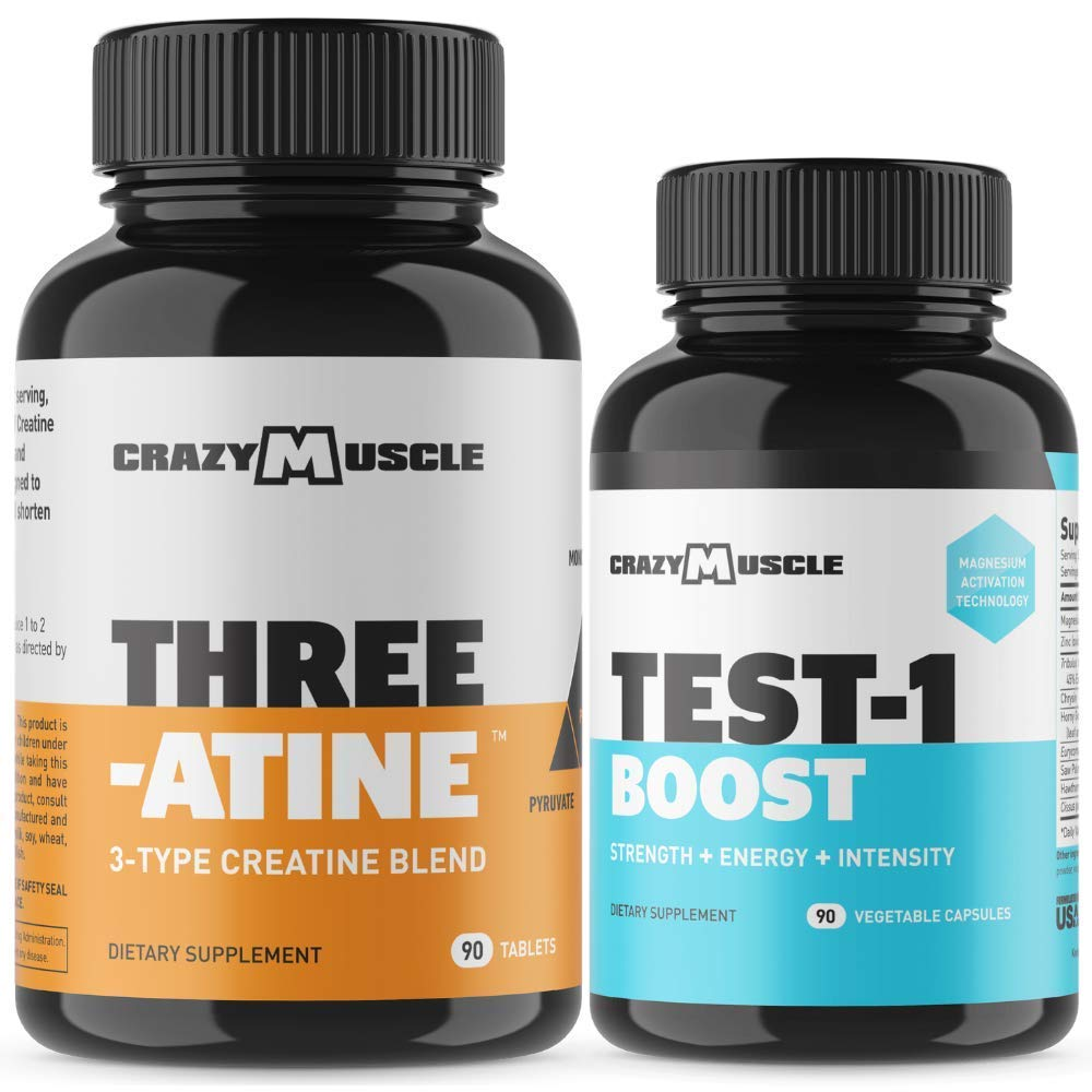 Bundle for Faster Muscle Recovery (2 Products Included) - Creatine + Test-1 Boost - Stack and Save $2.01!