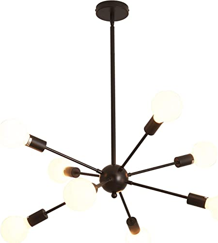 8-Lights Sputnik Chandeliers Modern Ceiling Light Fixture Black Chandelier