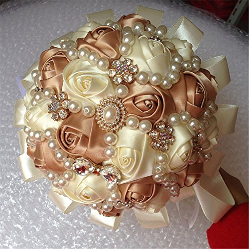Ivory Rose Bridal Bouquet (Hand Made Diamond Pearl Silk Roses Bridesmaid Bridal Artificial Bouquets Customization Bride Holding Bouquet Durable Wedding With Corsage Flower,18cm (Ivory+Rose Gold))