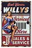 jeep garage - Jeep Willys Pin Up Girl By Steve McDonald Reproduction Sign 12