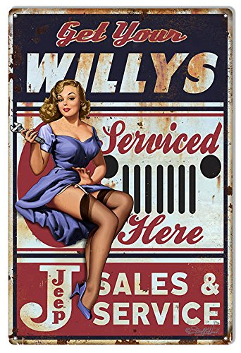 Garage Art Signs Jeep Willys Pin Up Girl by Steve McDonald Reproduction Sign 12