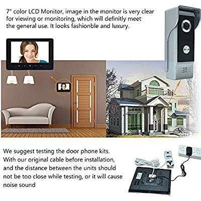 "AMOCAM Video Doorbell Phone, 7"" Video Intercom Monitor Doorphone System, Wired Video Door Phone HD Camera kits Dual-way Intercom for Villa House Office Apartment 1-IR camera 2-LCD color monitor"
