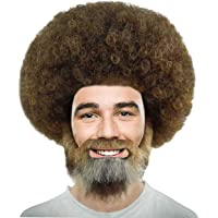 Halloween Party Online Wig for Cosplay Bob Ross Afro Wig with Full Beard and Moustache Set MTO HM-898 Adult