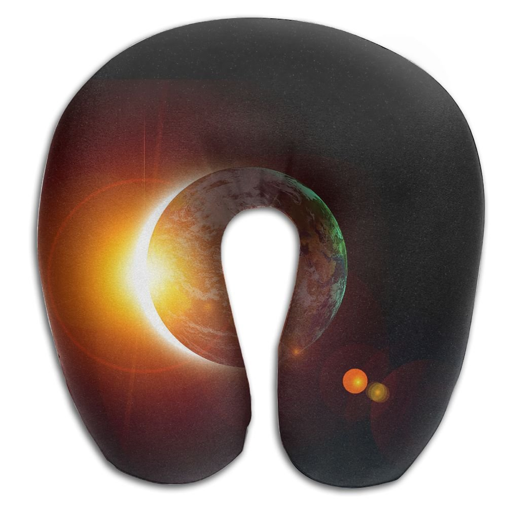 U-Shaped Neck Pillow Solar Eclipse Sun Pillows Soft Convertible Portable Multifunctional For Travel Reading And Sleeping