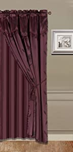 """GorgeousHomeLinen (Nada) One Solid Burgundy Wine Elegant Rod Pocket Window Curtain Panel Floral Printed Treatment Drape with Matching tieback in 63"""" 84"""" 95"""" 108"""" length (84"""" standard)"""