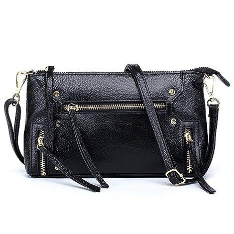 Amazon.com  Women Cow Leather Crossbody Bag Black Light Blue ... a25fe936ee34b