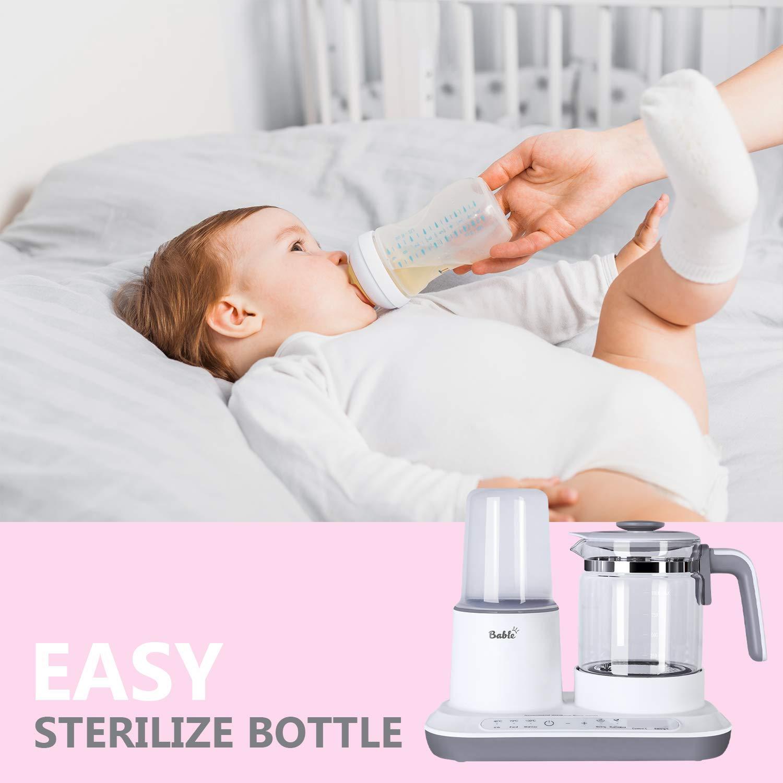 dampfgaren f/ür Babynahrung mit schnellem elektrischem Wasserkocher aus Glas sterilisieren die Flasche Pr/äzise Temperaturregelung Babel Flaschenw/ärmer Milchw/ärmer Milchregler