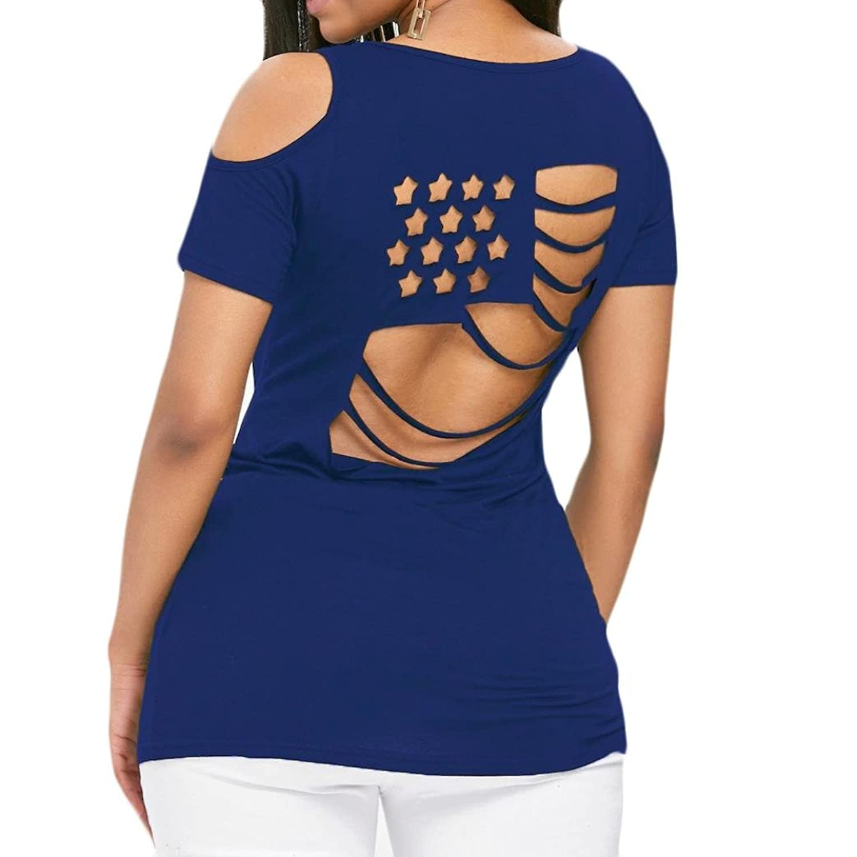 Franterd Women Top SHIRT レディース B07D7773JC  ブルー Medium