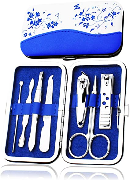 BOZEVON Kit Manicura y Pedicura Cortaúñas - Set de Manicura y Pedicura en Estuche de Piel Tijeras Cortaúñas Lima Retira-Cutículas y Pinza 7 piezas: Amazon.es: Belleza