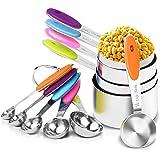 Set de Tazas y cucharas medidoras de Acero Inoxidable,Neloodony Juego de 12,silicona antideslizante adecuado para ingredientes secos y líquidos para cocina horneando.