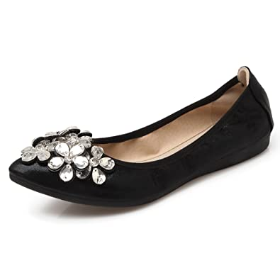 d49463e7cfdd3 Meeshine Womens Foldable Soft Pointed Toe Ballet Flats Rhinestone Comfort  Slip on Flat Shoes(6
