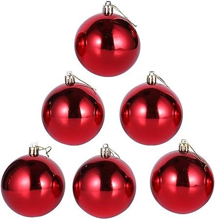 6 Piezas Inastillable Lujo Bolas De Navidad, Colgantes Adornos Del Árbol De Navidad, Brillante, Rojo, 10Cm(3.9