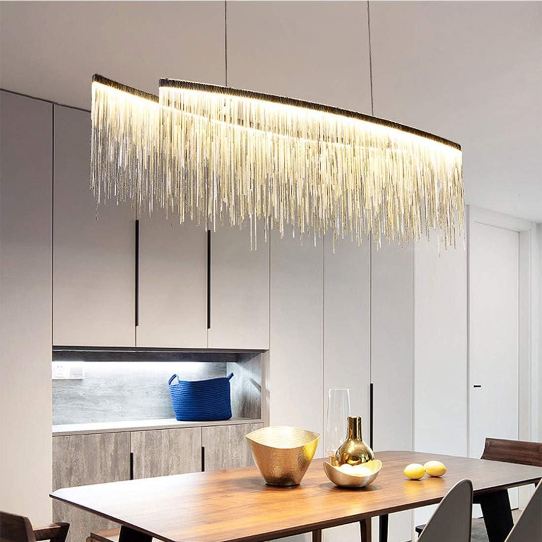 Moooni Post Modern Rectangle Aluminum Tassel Linear Chandelier Rectangular Pendant Light Fixture For Dining Room Kitchen Island Over Table L47 Amazon Com