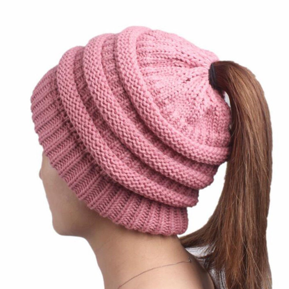 Boolavard BeanieTail Soft Stretch Cable Knit Messy High Bun Ponytail Beanie Hat Cappello