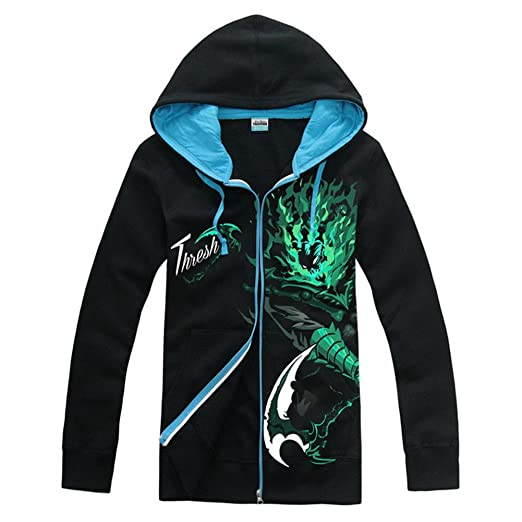 XCOSER Fashion LOL Hoodie Winter 2015 Zipper Sweatshirts Glowing Thresh Cosplay XXL