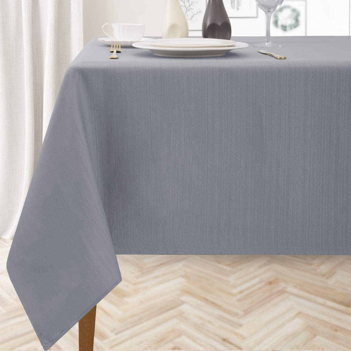 Stripe Textured Tablecloths for Rectangle Table Modern Style Water Resistant Spill-Proof Washable Table Cloth Chic Tabletop Cover for Kitchen Dining Holiday Table Decor Light Grey 60×84, Seats of 6-8