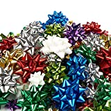 120-Count Gift Wrap Bows - Pull Bows, Gift Ribbons - Includes Large, Medium, Small Sizes, Peel and Stick, Prefect for Christmas and Birthday, Assorted Metallic Colors
