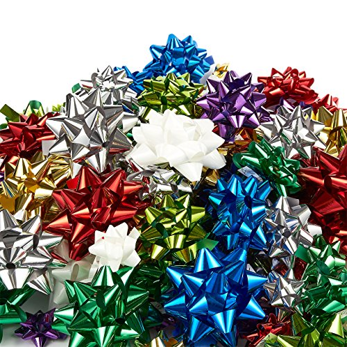 Wrapping Paper Bows (120-Count Gift Wrap Bows - Pull Bows, Gift Ribbons - Includes Large, Medium, Small Sizes, Peel and Stick, Prefect for Christmas and Birthday, Assorted Metallic Colors)